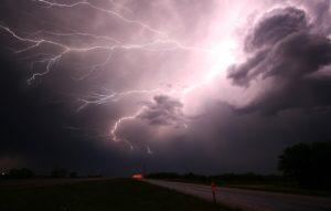 dark clouds and lightning